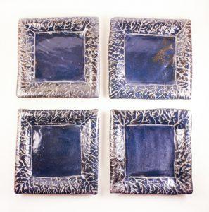 "Silvery Dark Blue 6"" Plates w/ Sgraffito"