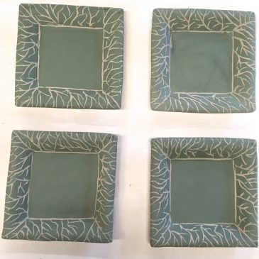 Square Plates Edged with Sgraffito